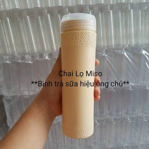 Chai nhua PET dung tra sua ong chu 500ml