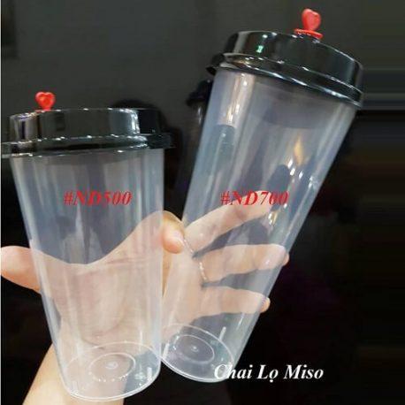 Ly nhựa trà sữa nút trái tim 500ml 2