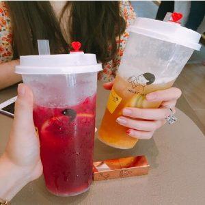 Ly nhựa trà sữa nút trái tim 500ml