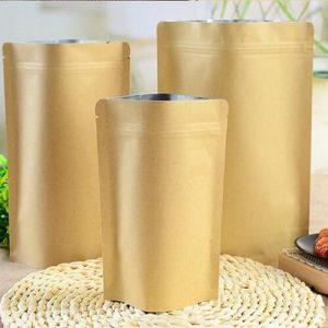 Túi zipper giấy kraft đáy đứng