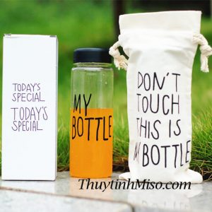 Chai thủy tinh My Bottle + túi vải