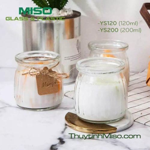 Hũ thủy tinh yaourt sọc 200ml