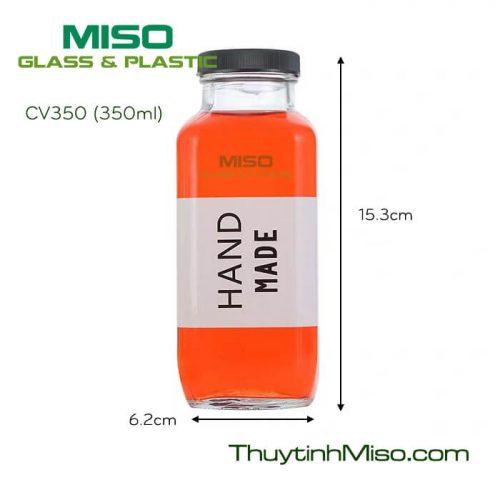 Chai thủy tinh vuông CV350 350ml