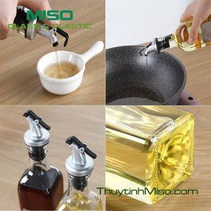 Chai thủy tinh vòi rót dầu 500ml 2