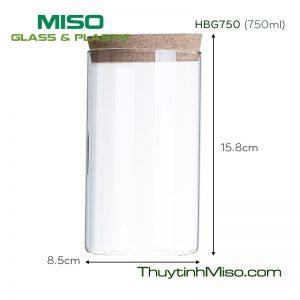 Hũ thủy tinh nắp gỗ HBG750 750ml