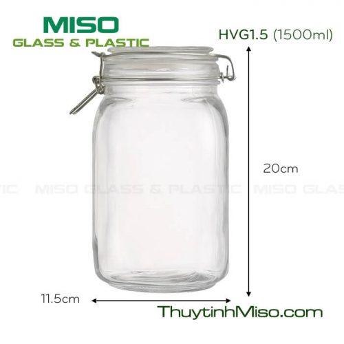 Hũ thủy tinh vuông nắp cài 1.5 Lít